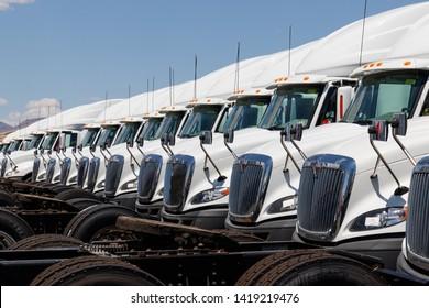 Las Vegas - Circa June 2019: International Semi Tractor Trailer Trucks Lined up for Sale. International is owned by Navistar III