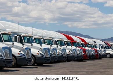 Las Vegas - Circa June 2019: International Semi Tractor Trailer Trucks Lined up for Sale. International is owned by Navistar IV