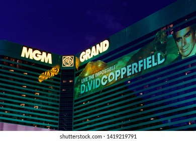 Las Vegas - Circa June 2019: MGM Grand Hotel exterior with a banner for David Copperfield. The MGM is a subsidiary of MGM Resorts International III