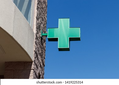 Las Vegas - Circa June 2019: Green Cross sign. The green cross symbol for marijuana. A number of states have legalized pot for recreational use II