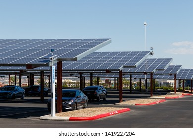 Las Vegas - Circa June 2019: Solar Thermal Flat Panels in a parking lot. Companies are installing renewable energy sources to reduce their carbon footprint I