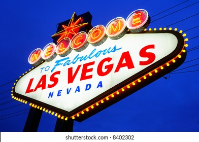 Las Vegas City Welcome sign at dask