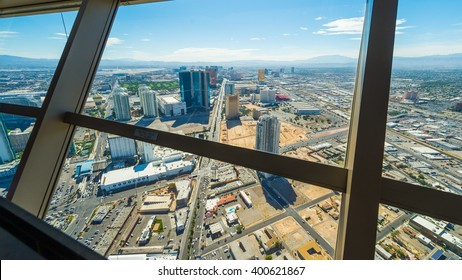 Las Vegas cityscape panorama from the top of the Stratosphere Tower with architectural details, Las Vegas, USA