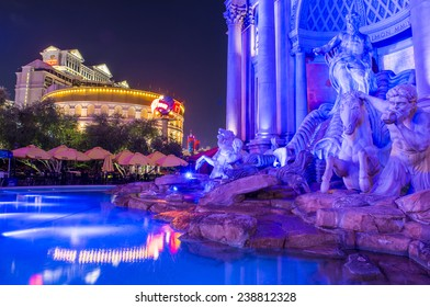 LAS VEGAS - DEC 04 :The Caesars Palace hotel on December 04, 2014 in Las Vegas. Caesars Palace is a luxury hotel and casino located on the Las Vegas Strip. Caesars has 3,348 rooms in five towers