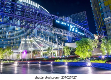 LAS VEGAS - DEC 08 : The Aria Resort in Las Vegas on December 08 2014. The Aria is a luxury resort and casino opened on 2009 and is the world's largest hotel to receive LEED Gold certification