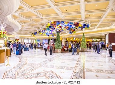 LAS VEGAS - DEC 08 : The Bellagio hotel loby on December 08 2014 in Las Vegas. Bellagio is a luxury hotel and casino located on the Las Vegas Strip. The Bellagio opened on 1998.