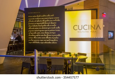 LAS VEGAS - DEC 18 : The Wolfgang Puck Cucina restaurant in Las Vegas on December 18 2015. In 2013 , Wolfgang Puck was inducted into the Culinary Hall of Fame.