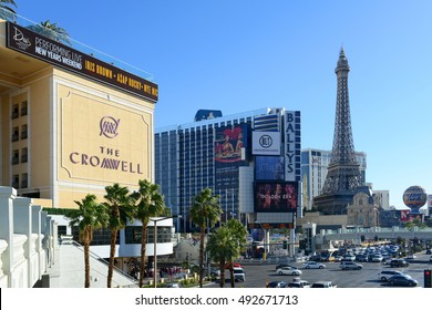 LAS VEGAS - DEC 24: Las Vegas Strip facing south, photo includes the Cromwell, Bally's and Paris Las Vegas from the left to the right on Dec. 24, 2016 in Las Vegas, Nevada, USA.