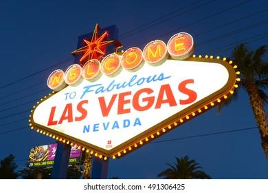 LAS VEGAS - DEC 25, 2015: Welcome to Fabulous Las Vegas Sign at dusk on Las Vegas Strip in Las Vegas, Nevada, USA.