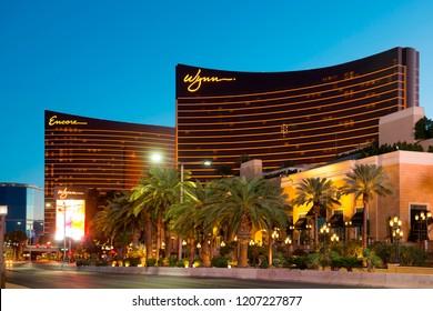 LAS VEGAS - DEC 26, 2015: Wynn Las Vegas Hotel and Encore Las Vegas at sunset on Strip in Las Vegas, Nevada, USA.