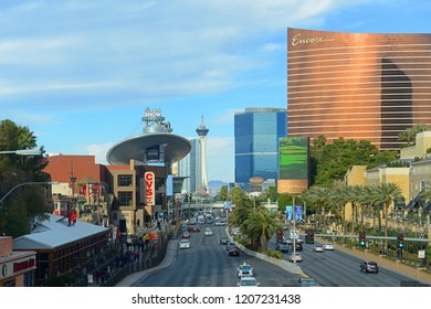 LAS VEGAS - DEC 26, 2015: Las Vegas Strip facing north, photo includes the Fashion Show Mall, Stratosphere and Wynn Encore from the left to the right in Las Vegas, Nevada, USA.
