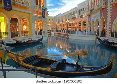 LAS VEGAS - DEC 27, 2015: Grand Canal Shopping Center inside The Venetian Resort on Las Vegas Strip in Las Vegas, Nevada, USA.