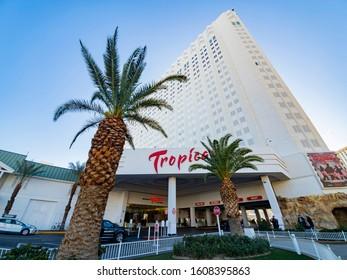Las Vegas, DEC 28: Exterior view of the famous Tropicana Casino on DEC 28, 2019 at Las Vegas, Nevada