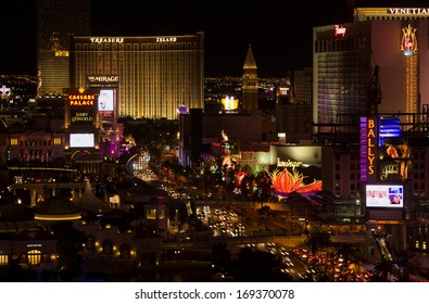 LAS VEGAS - DECEMBER 25, 2013 - Despite Christmas being the slow 'cheap week', nightly traffic jams occur along Las Vegas Boulevard South, the famous casino and resort strip, on December 25th, 2013.
