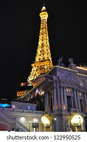 LAS VEGAS - DECEMBER 4: Eiffel tower of Paris Hotel on December 4, 2012 in Las Vegas, Nevada. This casino hotel is located on the Las Vegas Strip and includes a replica of the Eiffel Tower.