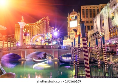 LAS VEGAS - DECEMBER 5, 2013: The Venetian Resort Hotel and Casino during holiday celebrations. The casino, designed by KlingStubbins, was founded on the site of the old legendary Sands Hotel.