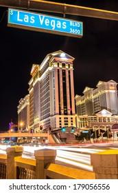 LAS VEGAS - DECEMBER 6, 2013: Caesars Palace and The Strip,Las Vegas. Caesars Palace opened in the 1960's and has a Roman Empire theme.