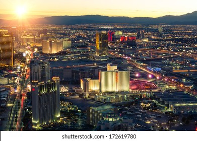 LAS VEGAS - DECEMBER 8, 2013: aerial view of the west side of the Strip at sunset. The Las Vegas Strip is boasting the latest in new-urban architecture, design and technology.