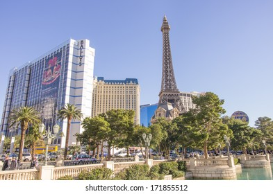 LAS VEGAS - DECEMBER 8,2013: Eiffel tower and the Ballys on the Strip,Las Vegas.Stretching 4.2 miles, the Strip is home to the largest hotels and casinos in the world