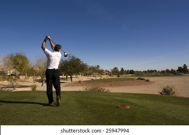 Las Vegas Desert Golf Course Man Teeing Off