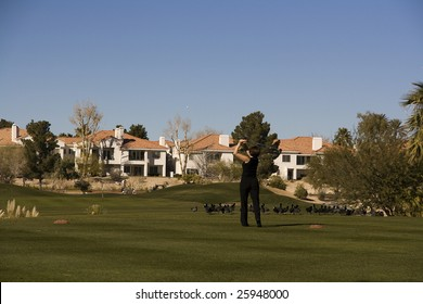 Las Vegas Desert Golf Course Woman on Tee Box