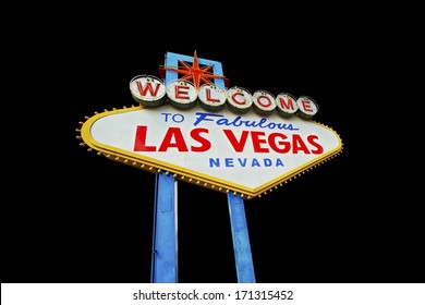 Las Vegas Famous Strip Entrance Sign Isolated on Black Background.