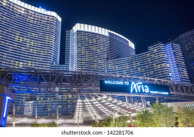 LAS VEGAS - FEB 14 : The Aria Resort and Casino in Las Vegas on February 14 2013. The Aria is the world's largest hotel to receive LEED Gold certification