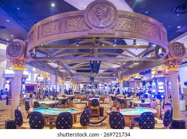 LAS VEGAS - FEB 18 : The casino of Ceasars Palace on February 18, 2015 in Las Vegas. Caesars Palace is a luxury hotel and casino located on the Las Vegas Strip. Caesars has 3,348 rooms in five towers