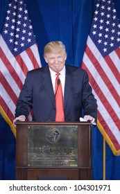 LAS VEGAS - FEB 2: Donald Trump smiles as he endorses Mitt Romney (off camera) for president at his Trump Hotel on February 2, 2012 in Las Vegas, Nevada.