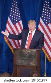 LAS VEGAS - FEB 2: Donald Trump gestures as he speaks at his Hotel on February 2, 2012 in Las Vegas, Nevada. Trump is endorsing Mitt Romney (off camera) for president.