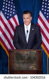 LAS VEGAS - FEB 2: Mitt Romney speaks at the Trump Hotel on February 2, 2012 in Las Vegas, Nevada. Donald Trump (off camera) is endorsing Romney for president.