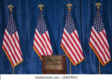 LAS VEGAS - FEBRUARY 02: Empty podium at the Trump International Hotel where Donald Trump would endorse Presidential Candidate Mitt Romney for President, February 02, 2012 in Las Vegas, NV