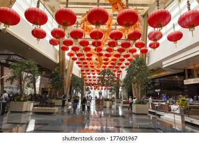 LAS VEGAS - FEBRUARY 15, 2014: Chinese lanterns fill the Aria hotel lobby for Chinese New Year 2014.