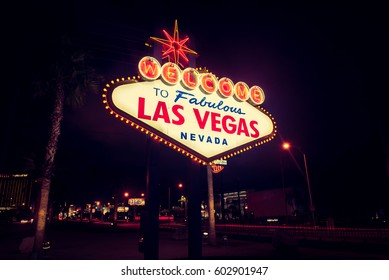LAS VEGAS - February 18: World famous Las Vegas welcome sign at night in Las Vegas, Nevada on February 18, 2017