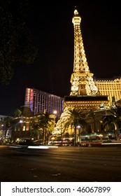 LAS VEGAS - FEBRUARY 2: Night Panorama of Las Vegas Boulevard, The Strip. Hotels and casinos including The Paris and Ballys. Gambling and night life. February 2, 2010, Las Vegas, Nevada, USA