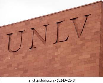 Las Vegas -  February 5, 2010:  UNLV Logo on side of Red Brick building. The University of Nevada, Las Vegas is a public research university in the Las Vegas suburb of Paradise, Nevada.