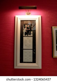 Las Vegas -  February 7, 2010:  Sinatra Menu with photo of Steve Wynn and Frank Sinatra.  Sinatra is an upscale Italian eatery in the Encore features Sinatra's Academy Award & other memorabilia.