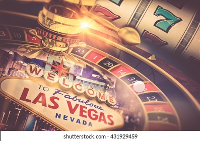 Las Vegas Gambling Concept. Roulette, Slot Machine and Las Vegas Welcoming Strip Sign. Playing in a Casino Conceptual Illustration. - Shutterstock ID 431929459