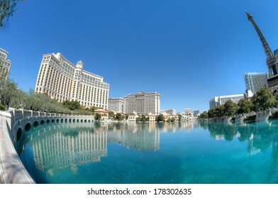 Las Vegas hotels reflecting in water. Fisheye lens used to capture extra wide angle.