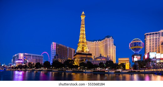 LAS VEGAS - Jan 06 : View of the strip on Jan 06 , 2017 in Las Vegas. The Las Vegas Strip is an approximately 4.2-mile stretch of Las Vegas Boulevard with  world famous hotels and casinos.