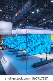 LAS VEGAS - JAN 08 : The LG booth at the CES show held in Las Vegas on January 08 2017 , CES is the world's leading consumer-electronics show.