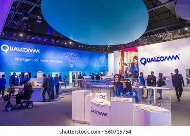 LAS VEGAS - JAN 08 : The Qualcomm booth at the CES show held in Las Vegas on January 08 2017 , CES is the world's leading consumer-electronics show.