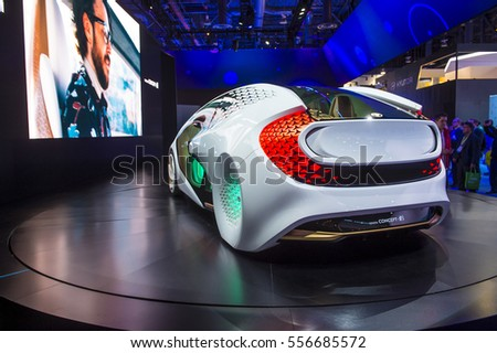 LAS VEGAS - JAN 08 : Toyota Concept car at the CES Show in Las Vegas, Navada, on January 08, 2016. CES is the world's leading consumer-electronics show.