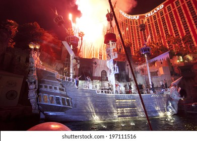 LAS VEGAS - JAN 18: The outdoor live free show The Sirens of Treasure Island on Jan 18, 2011 in Las Vegas, Nevada. The show presents several times nightly with a large cast of stunt performers.
