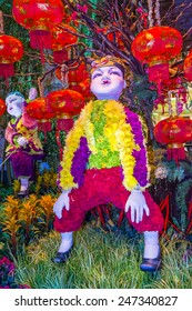 LAS VEGAS - JAN 19 : Chinese New year in Bellagio Hotel Conservatory & Botanical Gardens on January 19, 2015 in Las Vegas. There are five seasonal themes that the Conservatory undergoes each year.