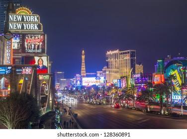 LAS VEGAS - JAN 24 : View of the strip on January 24, 2013 in Las Vegas. The Las Vegas Strip is an approximately 4.2-mile (6.8 km) stretch of Las Vegas Boulevard in Clark County, Nevada.