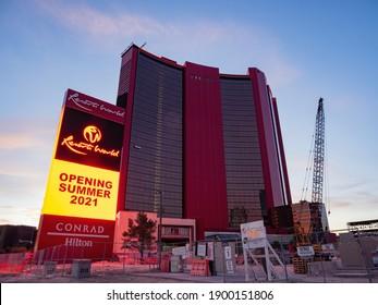 Las Vegas, JAN 8, 2021 - Construction site of the Las Vegas Hilton at Resorts World