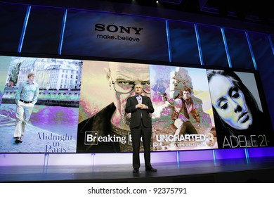LAS VEGAS - JAN 9: Sony CEO Howard Stringer hosts the Sony press conference at the 2012 International CES in Las Vegas, NV on January 9, 2012.