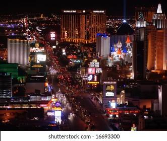 LAS VEGAS - JANUARY 11:  Night Panorama of Las Vegas Boulevard, The Strip. Hotels and casinos of Las Vegas, on January 11,  2006 in Las Vegas Nevada