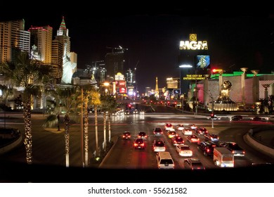 """LAS VEGAS - JANUARY 2: The Las Vegas Strip with the """"MGM Grand"""" and """"New York, New York"""" casinos visible on January 2, 2009 in Las Vegas. The economic downturn has shown gaming is not recession proof."""